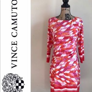 Vince Camuto pink & orange abstract shift/sheath